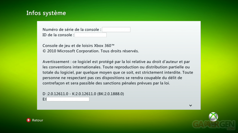 DASHboard XBOX 360 12611 191-info-système